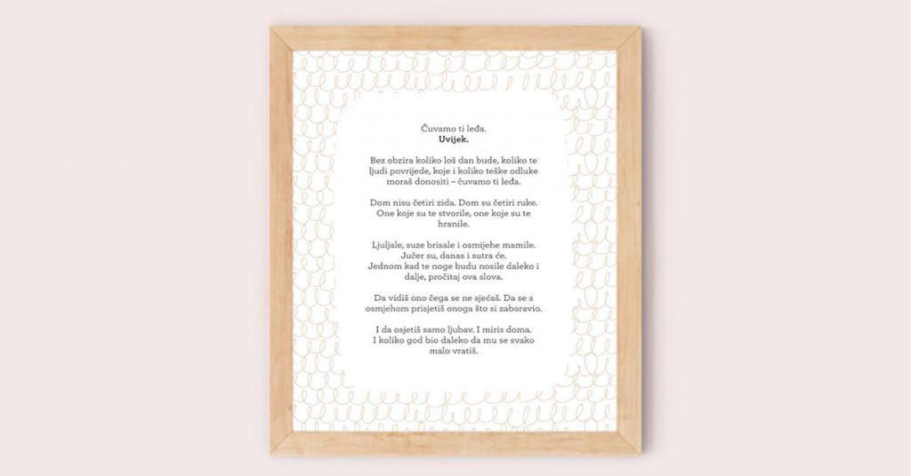 poster za rođenje djeteta i krštenje u drvenom okviru
