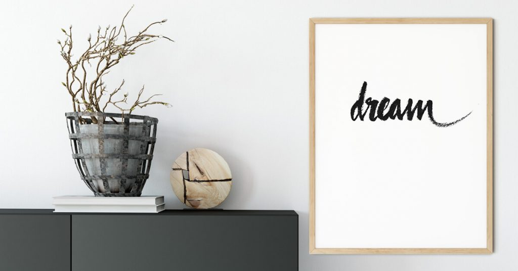 dream ručno pisani poster na zidu