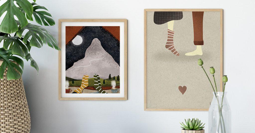 ljubavne ilustracije na zidu
