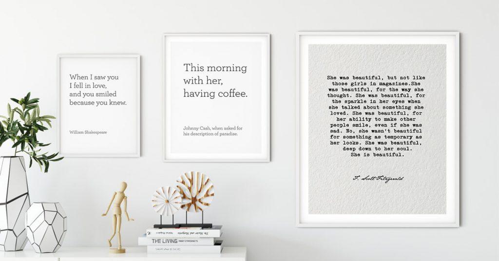 posteri s ljubavnim citatima na zidu