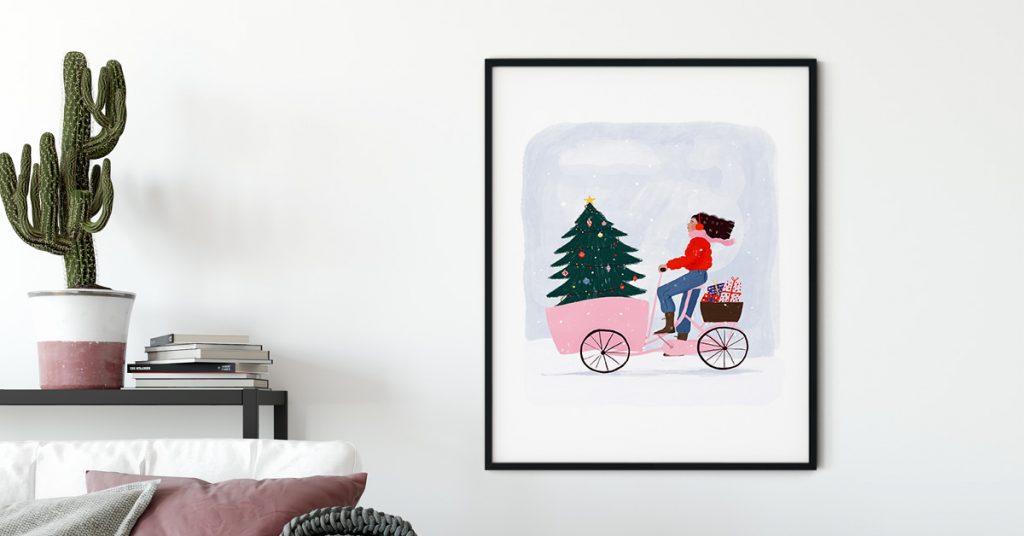 božićni poster na zidu