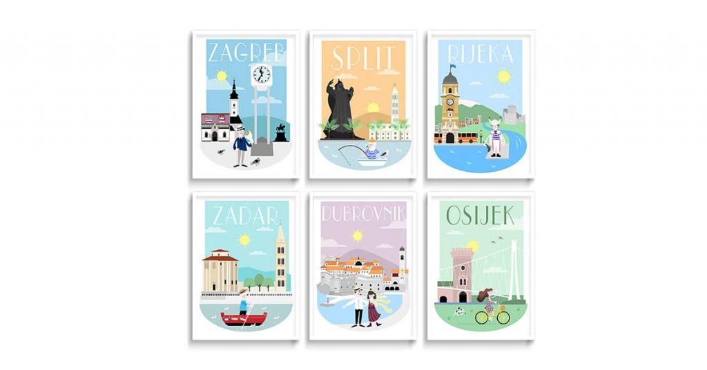 Posteri na zidu s ilustracijama hrvatskih gradova