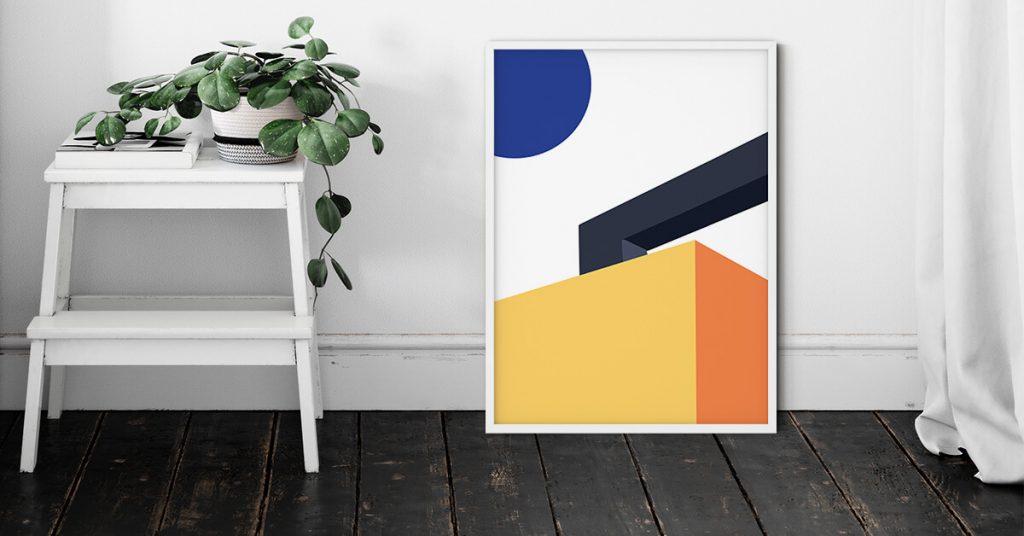 Perspective geometrijski poster na zidu