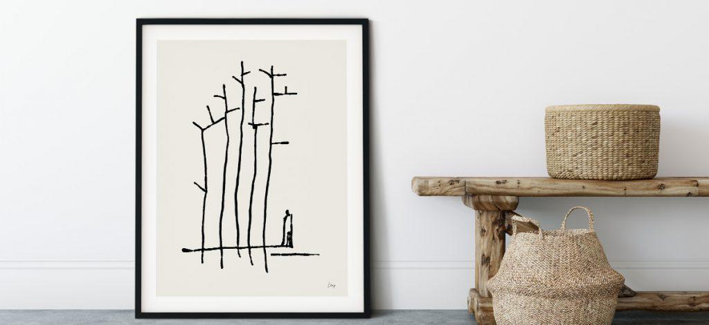 u šumi ilustracija Klasje Habjan naslonjena na zid
