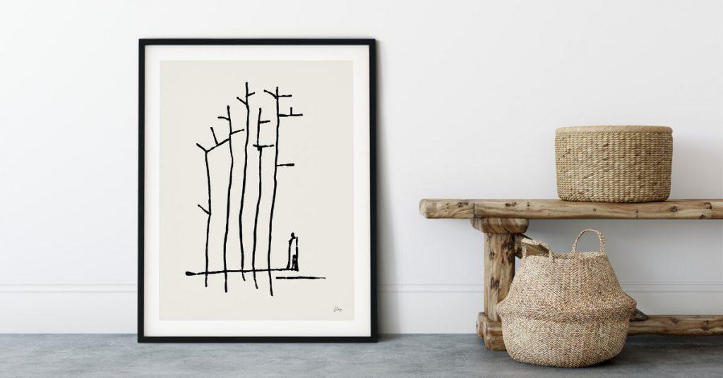 Minimalistički poster na zidu U šumi