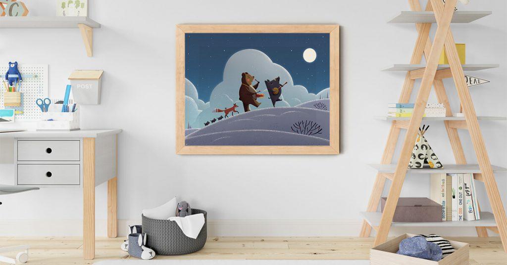 uokviren poster s djecjim likovima na zidu djecje sobe