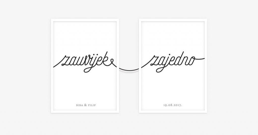 dva uokvirna postera za vjencanje povezana i spojena konopom