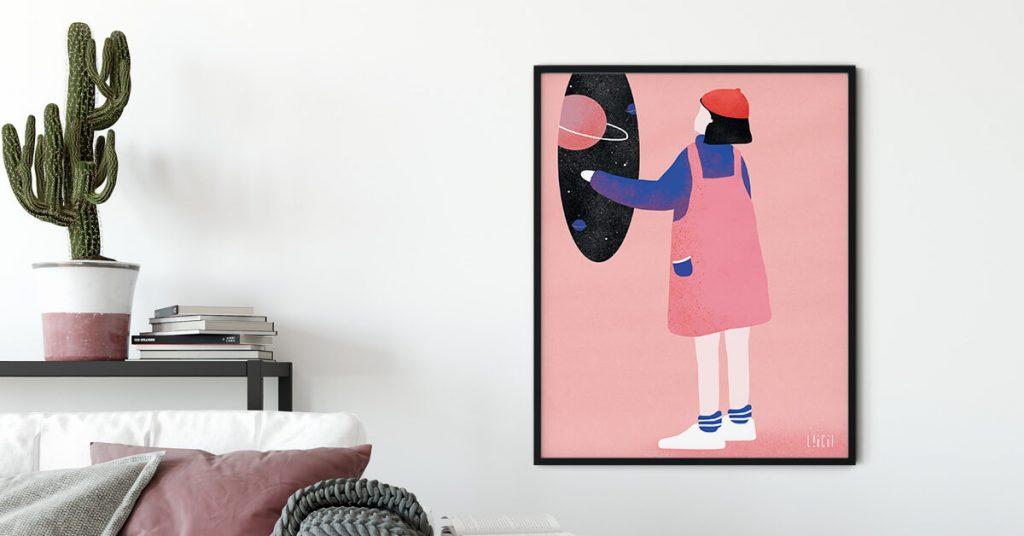 ilustracija Lare Žigić pored kauča i kaktusa