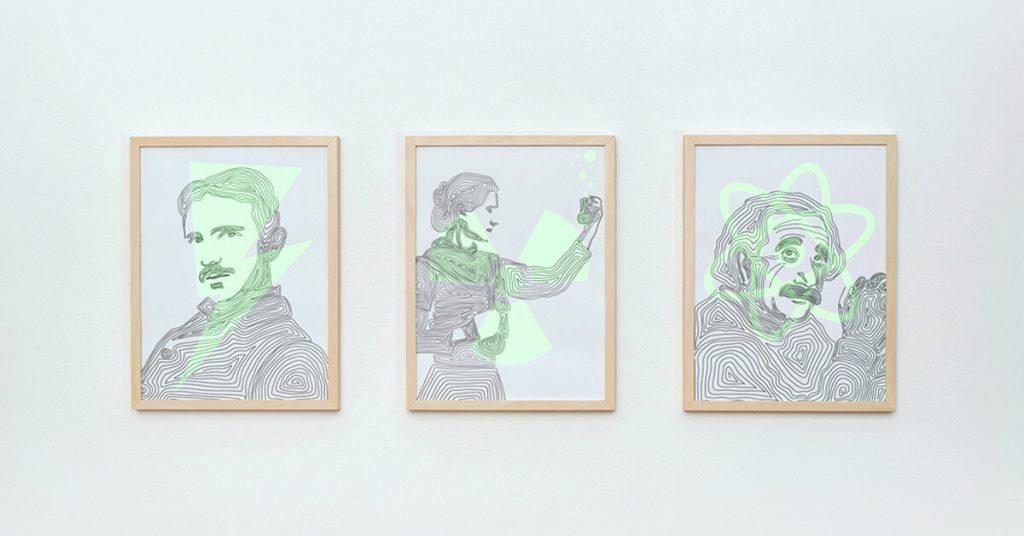 ilustracije znanstvenicka Tesla, Curie i Einstein na zidu